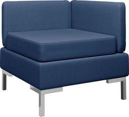 vidaXL Moduł sofy narożnej z poduszką, tkanina, niebieski