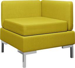 vidaXL Moduł sofy narożnej z poduszką, tkanina, żółty