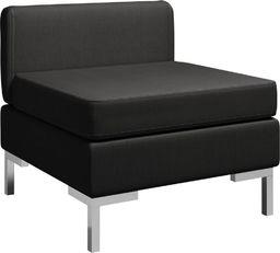 vidaXL Moduł sofy środkowej z poduszką, tkanina, czarny