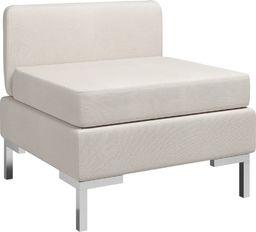 vidaXL Moduł sofy środkowej z poduszką, tkanina, kremowy