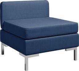 vidaXL Moduł sofy środkowej z poduszką, tkanina, niebieski