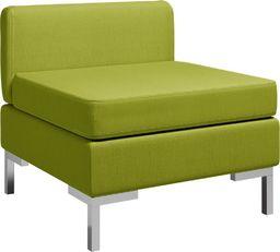 vidaXL Moduł sofy środkowej z poduszką, tkanina, zielony