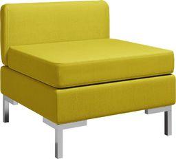 vidaXL Moduł sofy środkowej z poduszką, tkanina, żółty