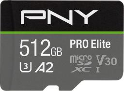 Karta PNY Pro Elite MicroSDXC 512 GB Class 10 UHS-I/U3 A2 V30 (P-SDUX512U3100PRO-GE)
