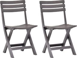 vidaXL składane krzesła ogrodowe, 2 sztuki, plastikowe, mokka (48788)