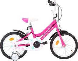 vidaXL Rower dla dzieci, 16 cali, czarno-różowy