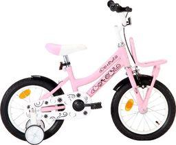 vidaXL Rower dla dzieci z bagażnikiem, 14 cali, biało-różowy