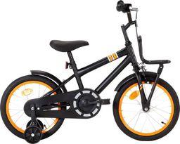 vidaXL Rower dla dzieci z bagażnikiem, 16 cali, czarno-pomarańczowy