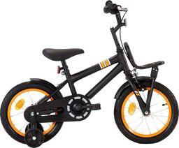 vidaXL Rower dla dzieci z bagażnikiem, 14 cali, czarno-pomarańczowy