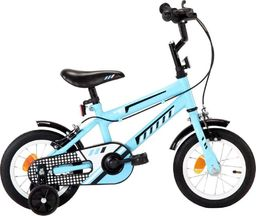 vidaXL Rower dla dzieci, 12 cali, czarno-niebieski