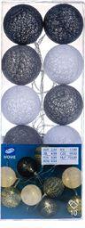 Lampki choinkowe PEPCO PEPCO - Łańcuch LED (10 kul) Biało-czarno-szare