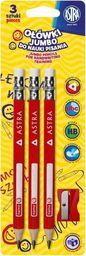Astra Ołówek do nauki pisania 3szt + temperówka ASTRA