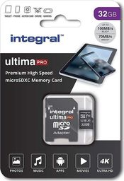 Karta Integral Integral Ultima Pro Premium High Speed - Karta pamięci 32 GB microSDXC/100 MB / s/ Class 10 UHS-I U3/ V30 + Adapter uniwersalny