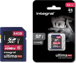 Karta Integral Integral UltimaPro - Karta pamięci 64 GB SDHC/XC 45MB/s Class 10 UHS-I U1 uniwersalny
