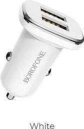 Ładowarka Borofone Borofone - ładowarka samochodowa 2x USB, biały uniwersalny