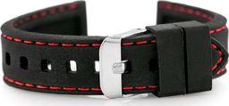 Pasek gumowy do zegarka - przeszywany czarny/czerwone 20mm uniwersalny
