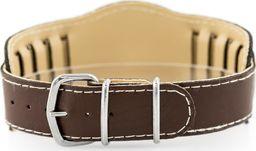 Pasek z ekoskóry do zegarka - podkładka - brązowy/białe - 18mm uniwersalny