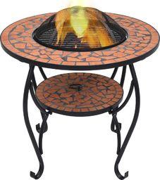 vidaXL VidaXL Mozaikowe palenisko ze stolikiem, terakota, 68 cm, ceramika