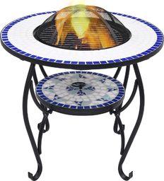 vidaXL VidaXL Mozaikowe palenisko ze stolikiem, niebiesko-białe, 68 cm