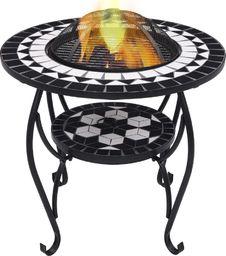 vidaXL VidaXL Mozaikowe palenisko ze stolikiem, czarno-białe, 68 cm, ceramika