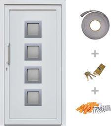 vidaXL VidaXL Drzwi wejściowe zewnętrzne, białe, 98 x 190 cm
