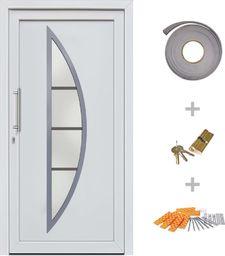 vidaXL VidaXL Drzwi wejściowe zewnętrzne, białe, 108 x 208 cm