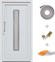 vidaXL VidaXL Drzwi wejściowe zewnętrzne, białe, 98 x 208 cm