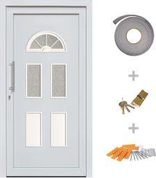 vidaXL VidaXL Drzwi wejściowe zewnętrzne, białe, 88 x 208 cm