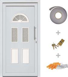vidaXL VidaXL Drzwi wejściowe zewnętrzne, białe, 88 x 190 cm
