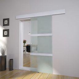 vidaXL VidaXL Drzwi przesuwne, szkło i aluminium, 178 cm, srebrne