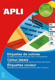 Apli Etykiety kolorowe APLI, 210x297mm, prostokątne, czerwone, 20 ark.