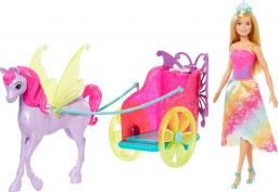 Barbie Laka Barbie Rydwan i pegaz + Lalka księżniczka (GJK53)