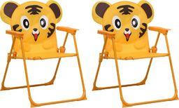 vidaXL krzesełka ogrodowe dla dzieci, 2 sztuki, żółte, tkanina (48104)