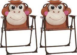 vidaXL krzesełka ogrodowe dla dzieci, 2 sztuki, brązowe, tkanina (48103)