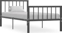 vidaXL Rama łóżka, szara, metalowa, 90 x 200 cm