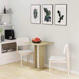 vidaXL Stolik bistro, biel i dąb sonoma, 60x60x75 cm, płyta wiórowa