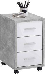 FMD FMD Mobilna szafka z szufladami, betonowy i biel na wysoki połysk