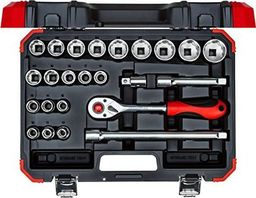 """GEDORE Gedore Red Socket set 1/2 """", 24 pieces(red / black, with Shift-gun, SW 10mm - 32mm)"""