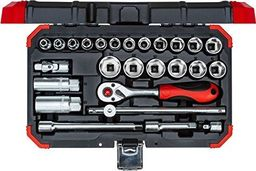 """GEDORE Gedore Red Socket set 3/8 """", 26 pieces(red / black, with Shift-gun, SW 6mm - 24mm)"""