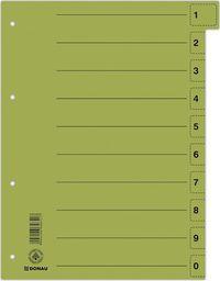 Donau Przekładka DONAU, karton, A4, 235x300mm, 0-9, 1 karta z perforacją, zielona
