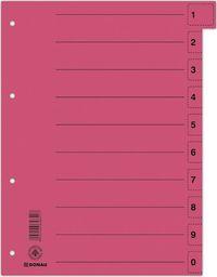 Donau Przekładka DONAU, karton, A4, 235x300mm, 0-9, 1 karta z perforacją, czerwona
