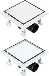 vidaXL Odpływ 2-w-1: gładki i na płytkę, 15x15 cm, stal nierdzewna