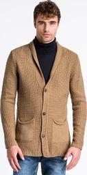 Ombre Sweter męski rozpinany E164 - camel M
