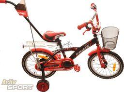 """Fuzlu Rower dziecięcy 16"""" Prime czarno-czerwony uniwersalny"""