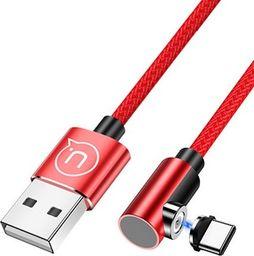 Kabel USB Usams USAMS Kabel kątowy magnetyczny U54 1m USB-C czerwony/red SJ445USB02 (US-SJ445)