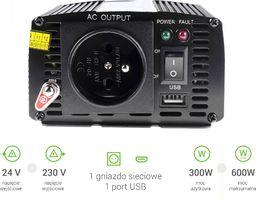 Przetwornica Green Cell Samochodowa Przetwornica Napięcia Green Cell 24V do 230V, 300W/600W