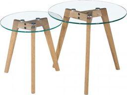 King Home Zestaw stolików kawowych SLOW DUO GLASS - szkło, nogi dębowe