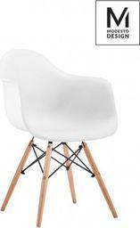 Modesto Design MODESTO fotel DAW DSW biały - polipropylen, nogi bukowe