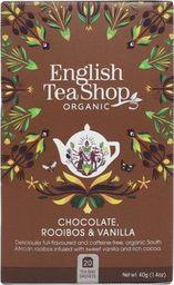 English Tea Sho Herbatka ziołowa rooibos z ziarnami kakaowca i laską wanilii (20x2) BIO 40 g