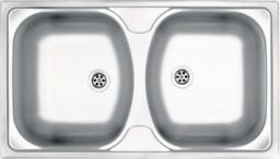 Deante Zlewozmywak 2-komorowy Techno bez ociekacza 44 x 79cm stalowy (ZMU 0200)